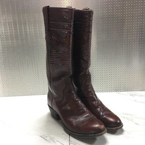 Lucchese Womens Brown Leather Cowgirl Boots